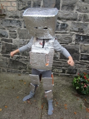 <h5>Hunt N.S, Mohill</h5><p>Elliott Whiteman, 4th class, Hunt N.S, Mohill. Elliott made his costume with with silver bubble wrap, cardboard, and duck tape.  </p>