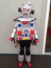 <h5>St John's N.S, Logboy.</h5><p>James Lyons, 6th Class,  St. John's N.S., Logboy, Tulrahan, Claremorris, Co. Mayo. James' DIY costume is Jaybot Prototype.</p>