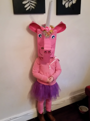 <h5>Éabha Durcan</h5><p>Éabha Durcan age (just gone 6) is dressed up as a pink unicorn</p>