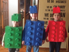 <p>This DIY Homemade costume was made with cardboard boxes and old baby food tubs. They cut out holes for the head and arms, and glued on the tubs and painted them. Well done to the three brothers Alex, Ryan, and Sean McKendry.</p>
