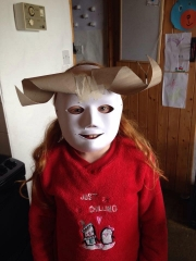 <h5>Creative Mask</h5><p>Dee Mulroe sent this is of her daughter's costume. She used toilet rolls to make horns , a disposable glove box for the nose, then newspaper for features and paper mâché to finish plus some teeth from the euro shop.</p>