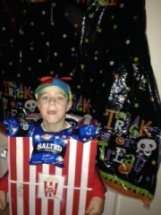 <h5>Dara</h5><p>This photo of Dara was sent in to us, his creative costume is a popcorn box.</p>