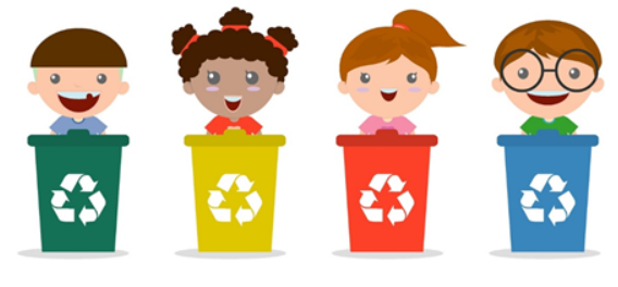Four school children learning to recycle
