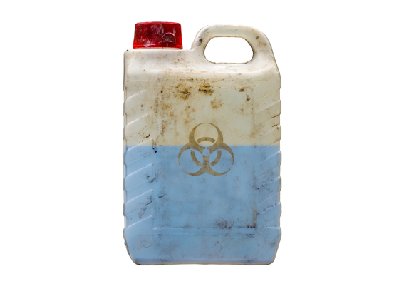 Hazardous waste symbol on container